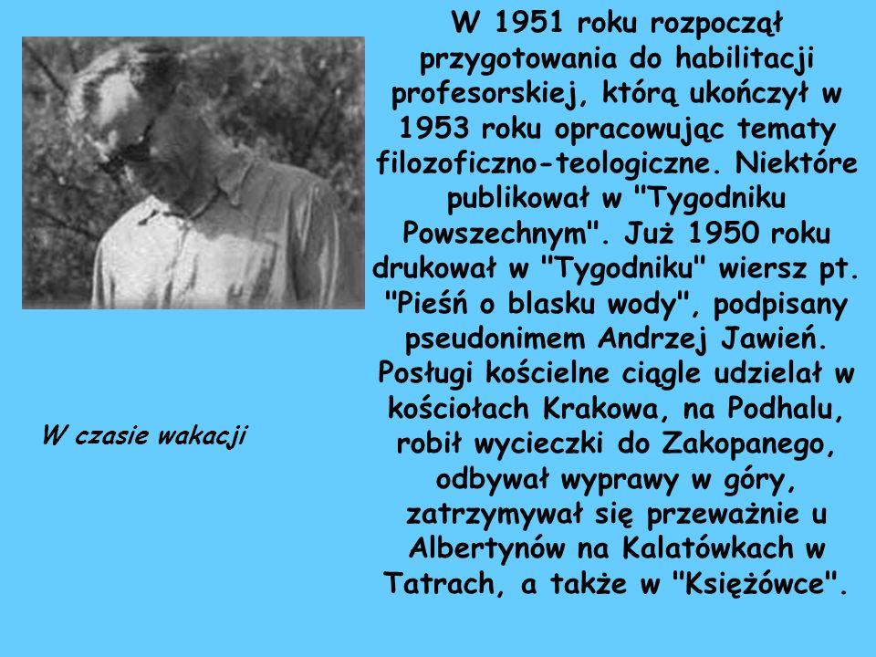 W 1951 roku rozpoczął przygotowania do habilitacji profesorskiej, którą ukończył w 1953 roku opracowując tematy filozoficzno-teologiczne. Niektóre pub