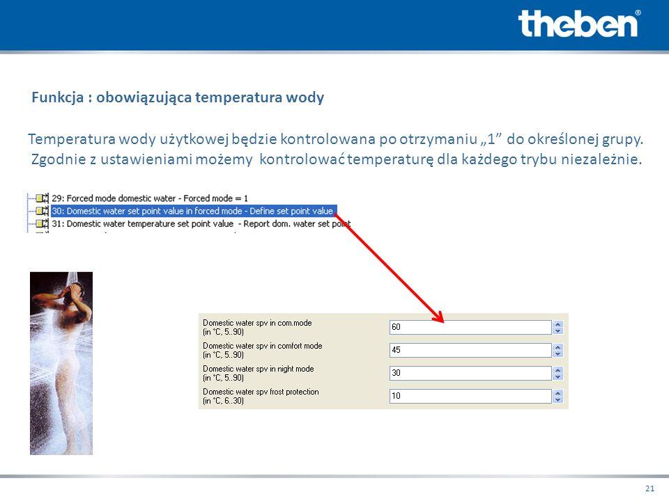21 Temperatura wody użytkowej będzie kontrolowana po otrzymaniu 1 do określonej grupy. Zgodnie z ustawieniami możemy kontrolować temperaturę dla każde