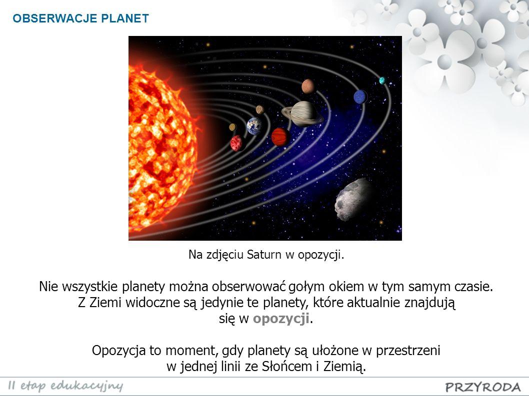 OBSERWACJE PLANET Nie wszystkie planety można obserwować gołym okiem w tym samym czasie. Z Ziemi widoczne są jedynie te planety, które aktualnie znajd