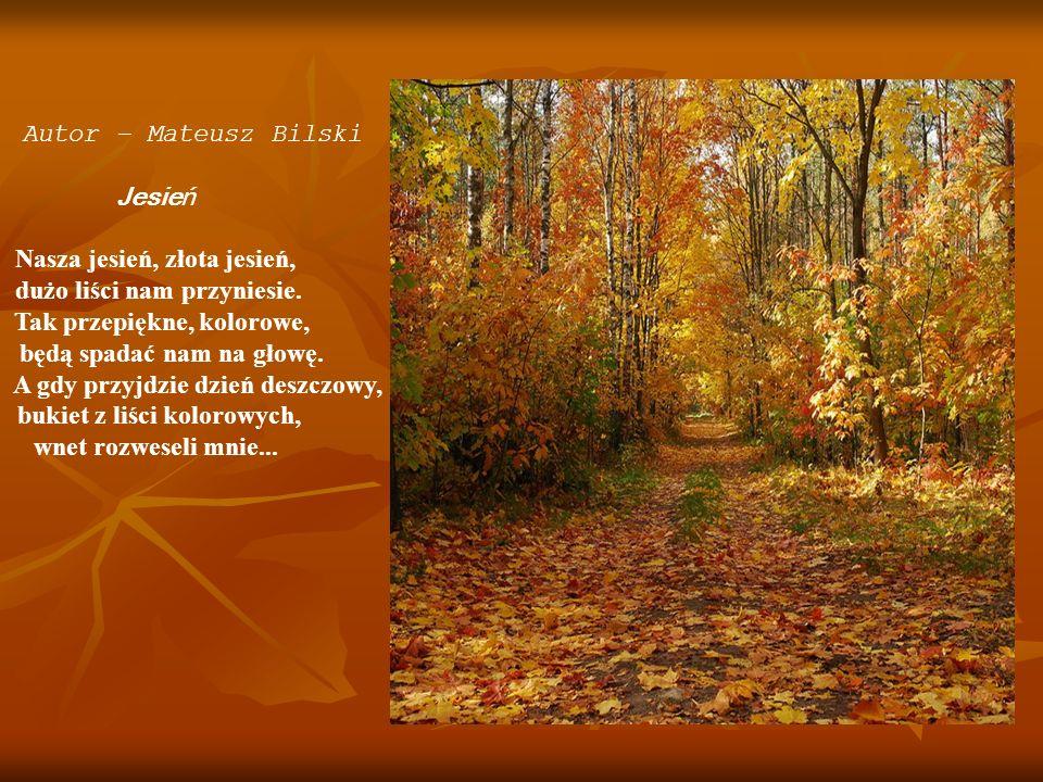Autor – Mateusz Bilski Jesień Nasza jesień, złota jesień, dużo liści nam przyniesie. Tak przepiękne, kolorowe, będą spadać nam na głowę. A gdy przyjdz