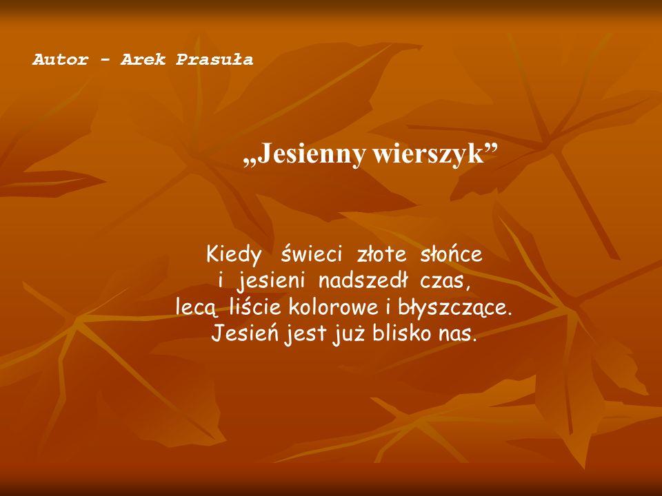 Autor - Arek Prasuła Jesienny wierszyk Kiedy świeci złote słońce i jesieni nadszedł czas, lecą liście kolorowe i błyszczące. Jesień jest już blisko na