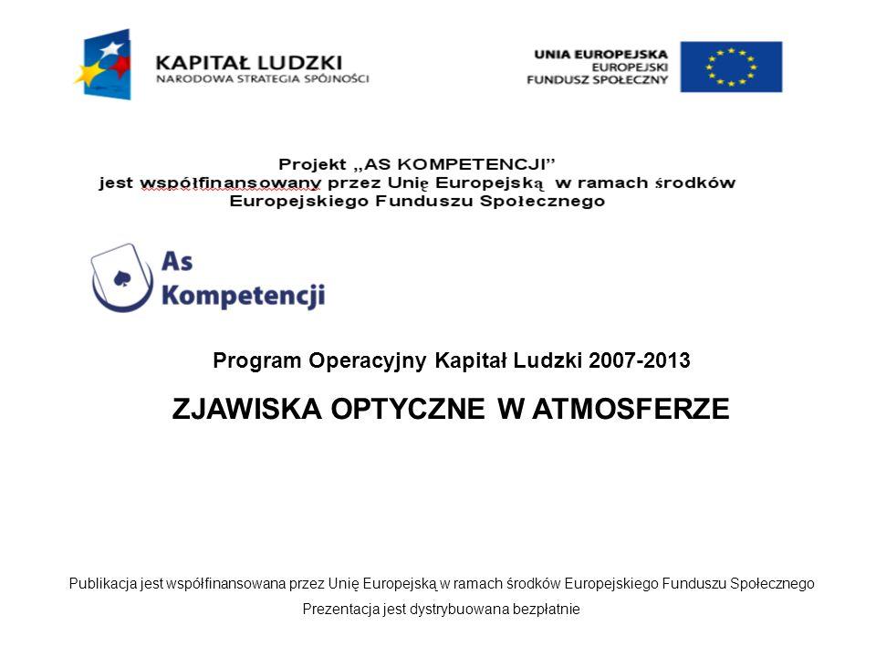 Program Operacyjny Kapitał Ludzki 2007-2013 ZJAWISKA OPTYCZNE W ATMOSFERZE Publikacja jest współfinansowana przez Unię Europejską w ramach środków Eur