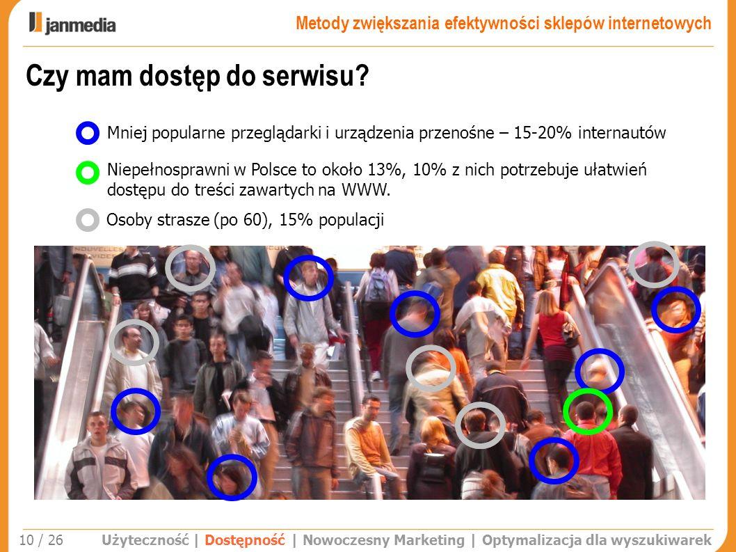 Użyteczność | Dostępność | Nowoczesny Marketing | Optymalizacja dla wyszukiwarek 10 / 26 Czy mam dostęp do serwisu? Mniej popularne przeglądarki i urz