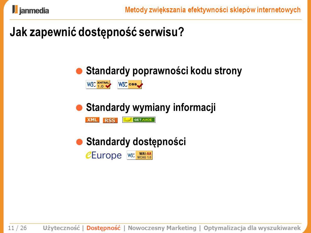 Jak zapewnić dostępność serwisu? Standardy poprawności kodu strony Standardy dostępności Standardy wymiany informacji Użyteczność | Dostępność | Nowoc