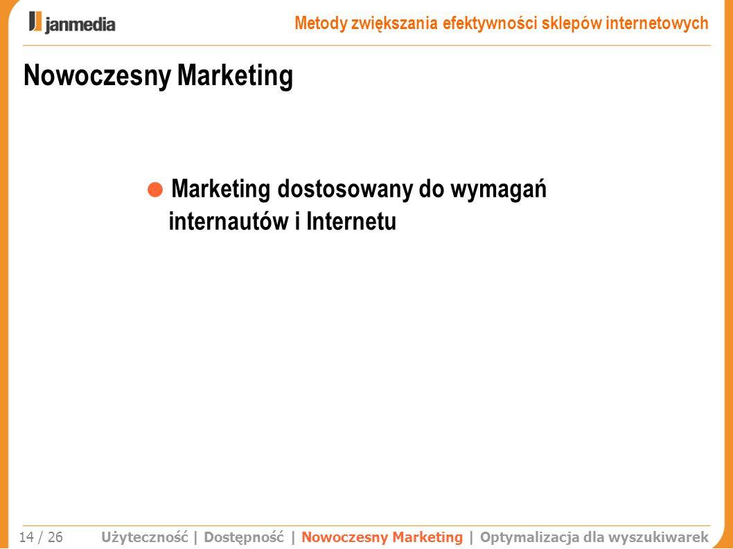 Nowoczesny Marketing Użyteczność | Dostępność | Nowoczesny Marketing | Optymalizacja dla wyszukiwarek Marketing dostosowany do wymagań internautów i I