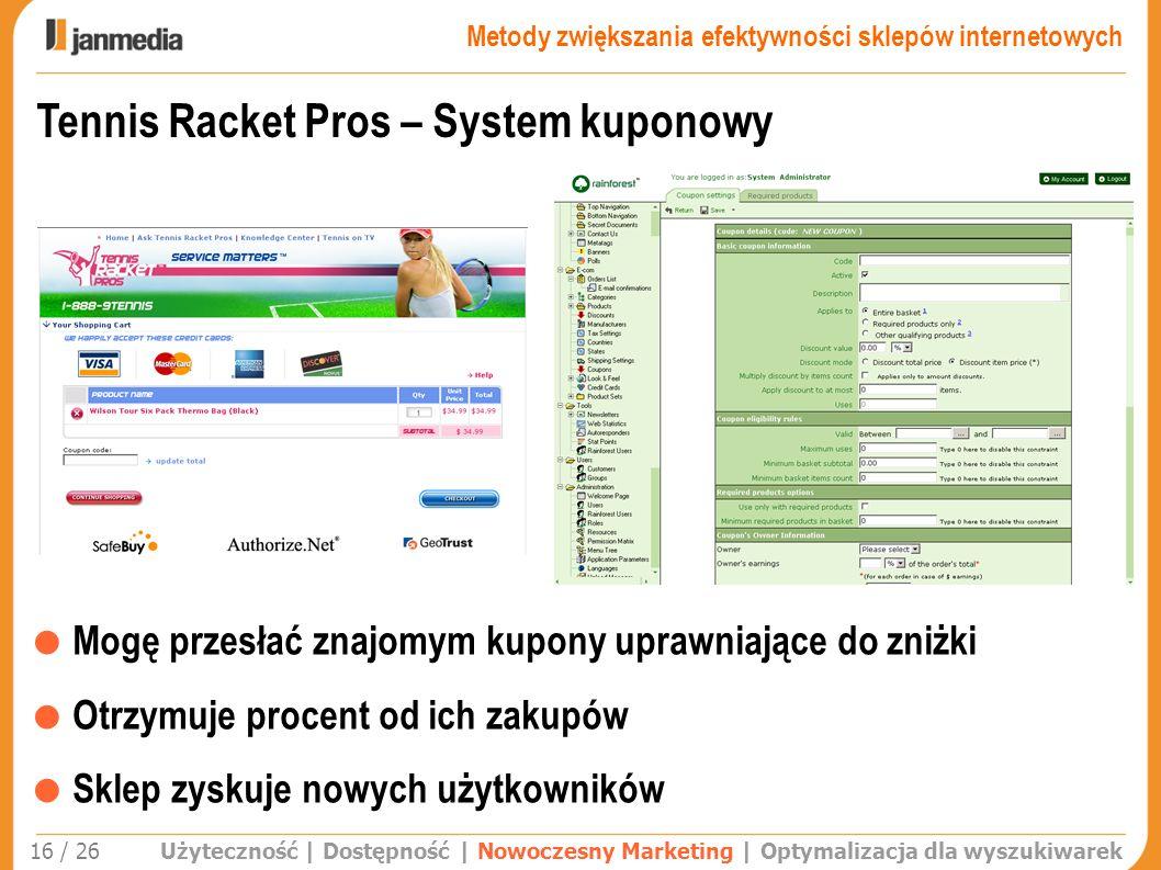 Użyteczność | Dostępność | Nowoczesny Marketing | Optymalizacja dla wyszukiwarek 16 / 26 Tennis Racket Pros – System kuponowy Mogę przesłać znajomym k