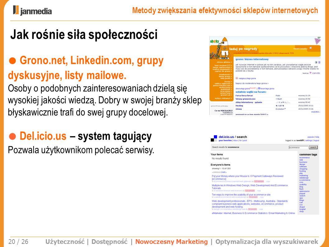 Jak rośnie siła społeczności Użyteczność | Dostępność | Nowoczesny Marketing | Optymalizacja dla wyszukiwarek 20 / 26 Grono.net, Linkedin.com, grupy d