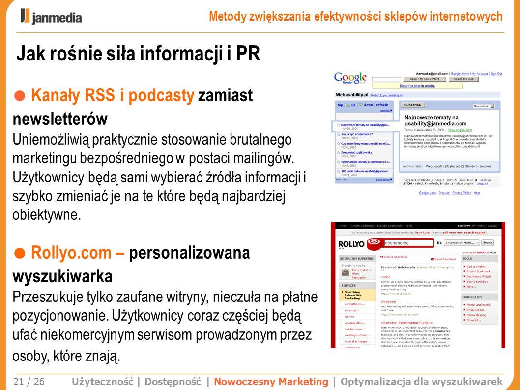 Jak rośnie siła informacji i PR Użyteczność | Dostępność | Nowoczesny Marketing | Optymalizacja dla wyszukiwarek 21 / 26 Kanały RSS i podcasty zamiast
