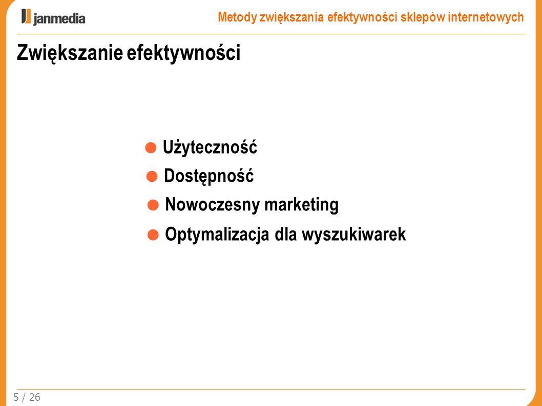 Zwiększanie efektywności Użyteczność Dostępność Nowoczesny marketing Optymalizacja dla wyszukiwarek 5 / 26 Metody zwiększania efektywności sklepów int