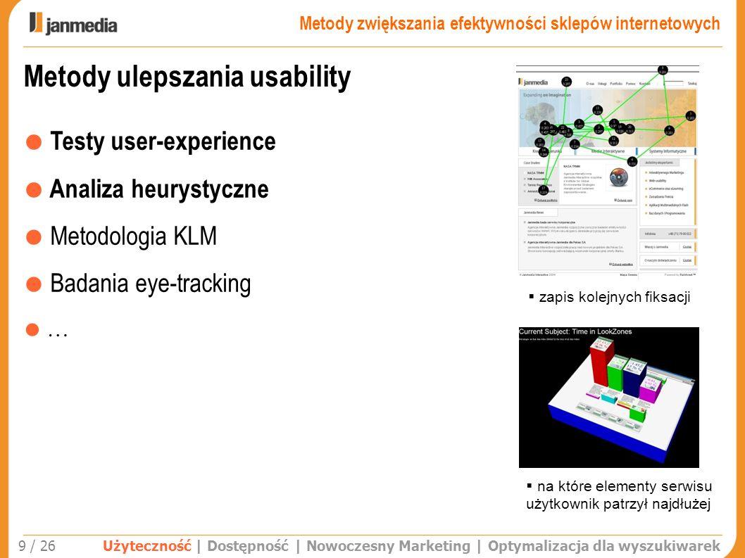 Metody ulepszania usability Testy user-experience Analiza heurystyczne Metodologia KLM Badania eye-tracking … Użyteczność | Dostępność | Nowoczesny Ma