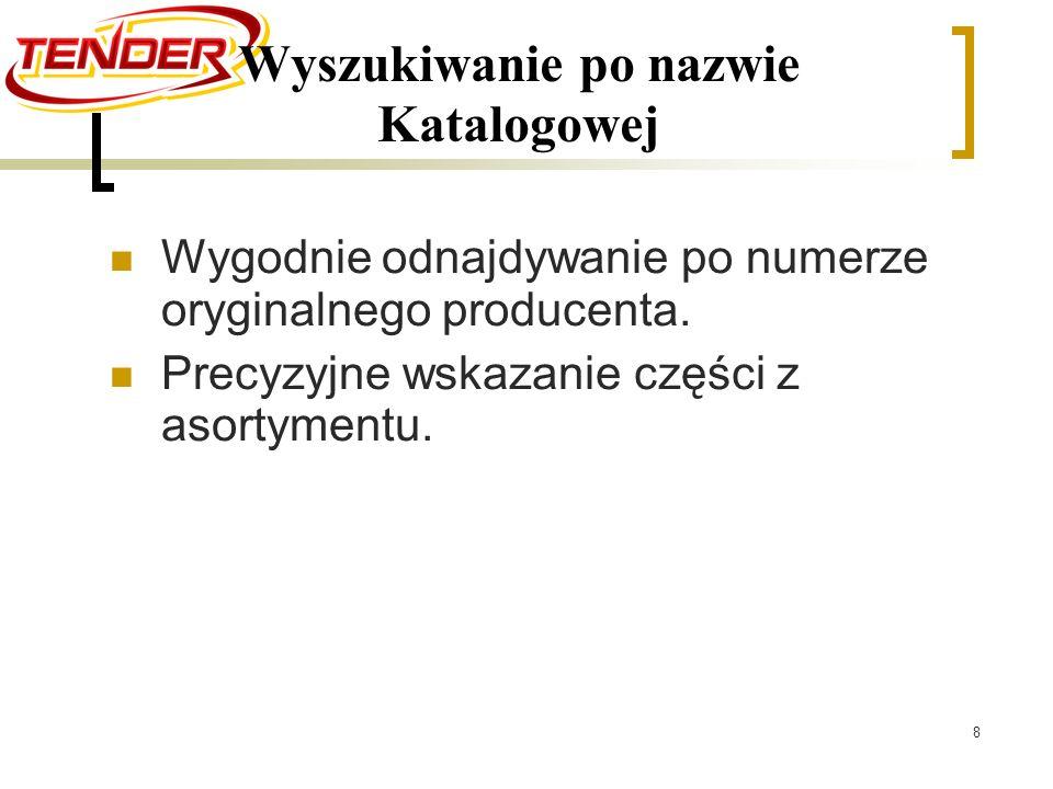 8 Wyszukiwanie po nazwie Katalogowej Wygodnie odnajdywanie po numerze oryginalnego producenta.