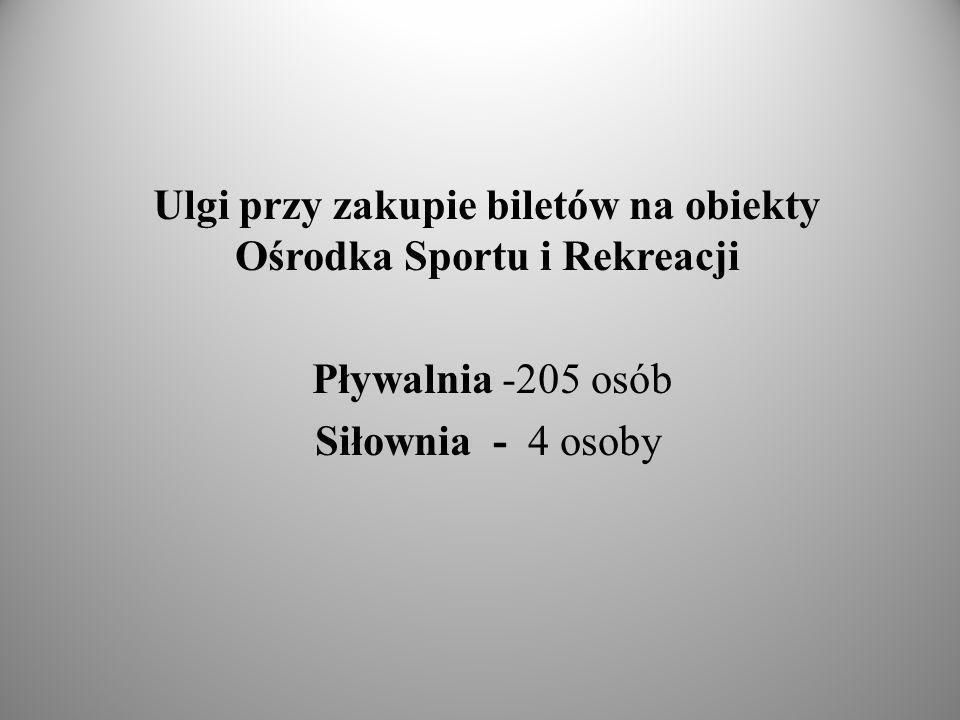 Ulgi przy zakupie biletów na obiekty Ośrodka Sportu i Rekreacji Pływalnia -205 osób Siłownia - 4 osoby