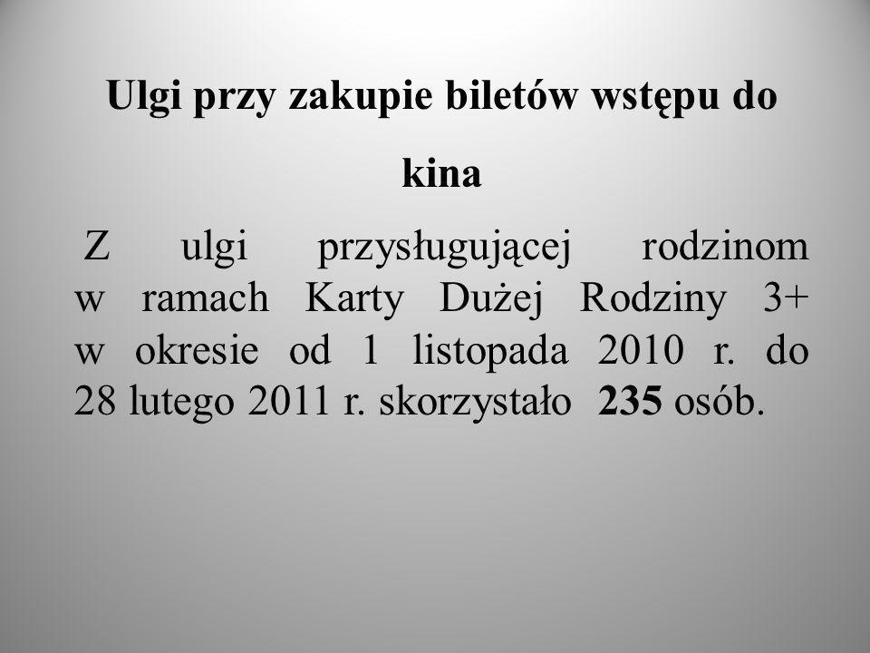 Ulgi przy zakupie biletów wstępu do kina Z ulgi przysługującej rodzinom w ramach Karty Dużej Rodziny 3+ w okresie od 1 listopada 2010 r.