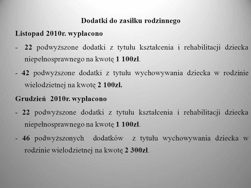 Dodatki do zasiłku rodzinnego Listopad 2010r. wypłacono -22 podwyższone dodatki z tytułu kształcenia i rehabilitacji dziecka niepełnosprawnego na kwot