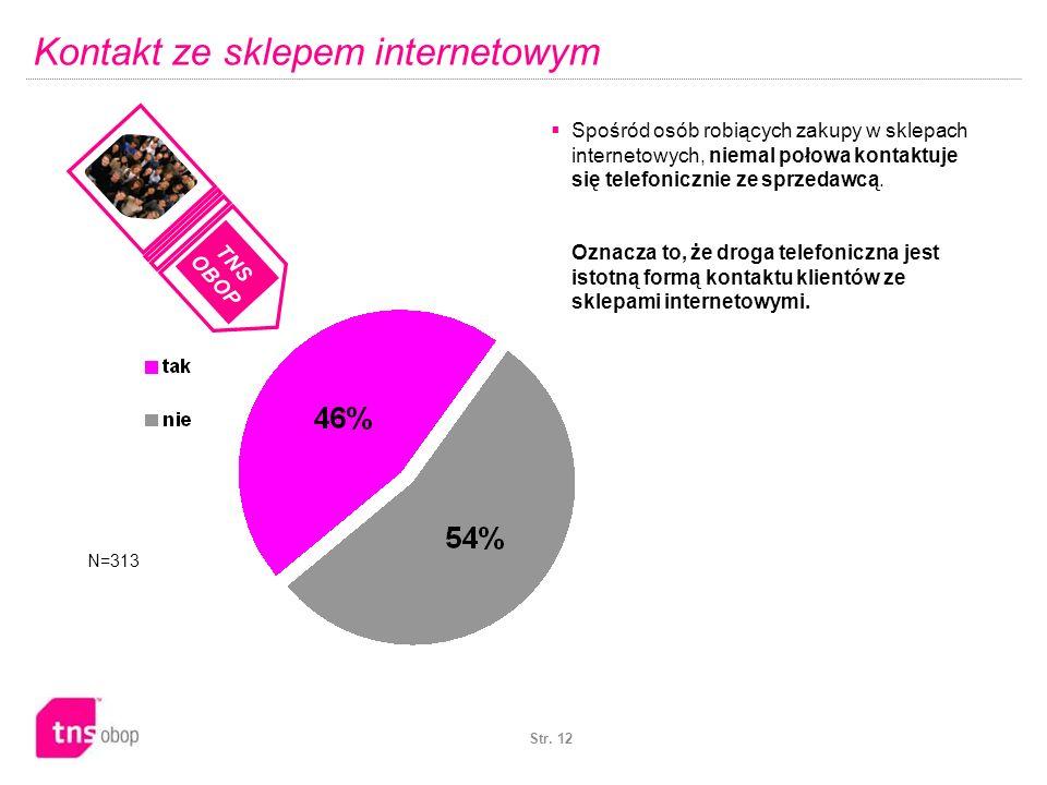 Str. 12 Kontakt ze sklepem internetowym N=313 Spośród osób robiących zakupy w sklepach internetowych, niemal połowa kontaktuje się telefonicznie ze sp