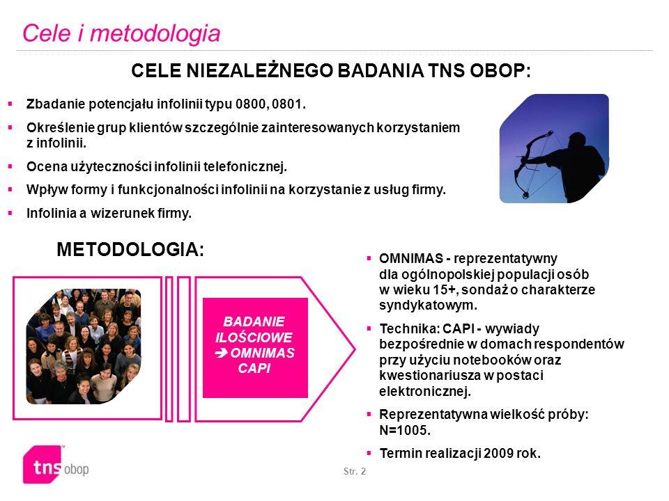 Str. 2 BADANIE ILOŚCIOWE OMNIMAS CAPI OMNIMAS - reprezentatywny dla ogólnopolskiej populacji osób w wieku 15+, sondaż o charakterze syndykatowym. Tech