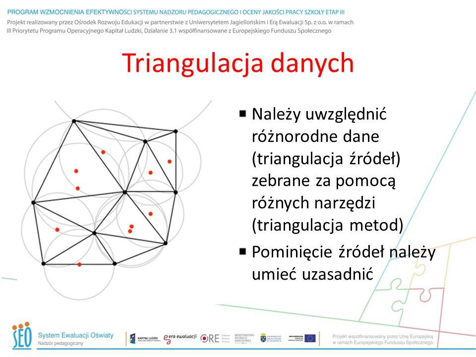 Triangulacja danych Należy uwzględnić różnorodne dane (triangulacja źródeł) zebrane za pomocą różnych narzędzi (triangulacja metod) Pominięcie źródeł