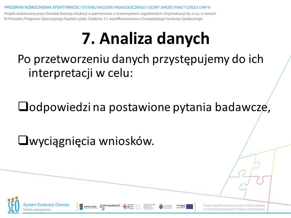 7. Analiza danych Po przetworzeniu danych przystępujemy do ich interpretacji w celu: odpowiedzi na postawione pytania badawcze, wyciągnięcia wniosków.