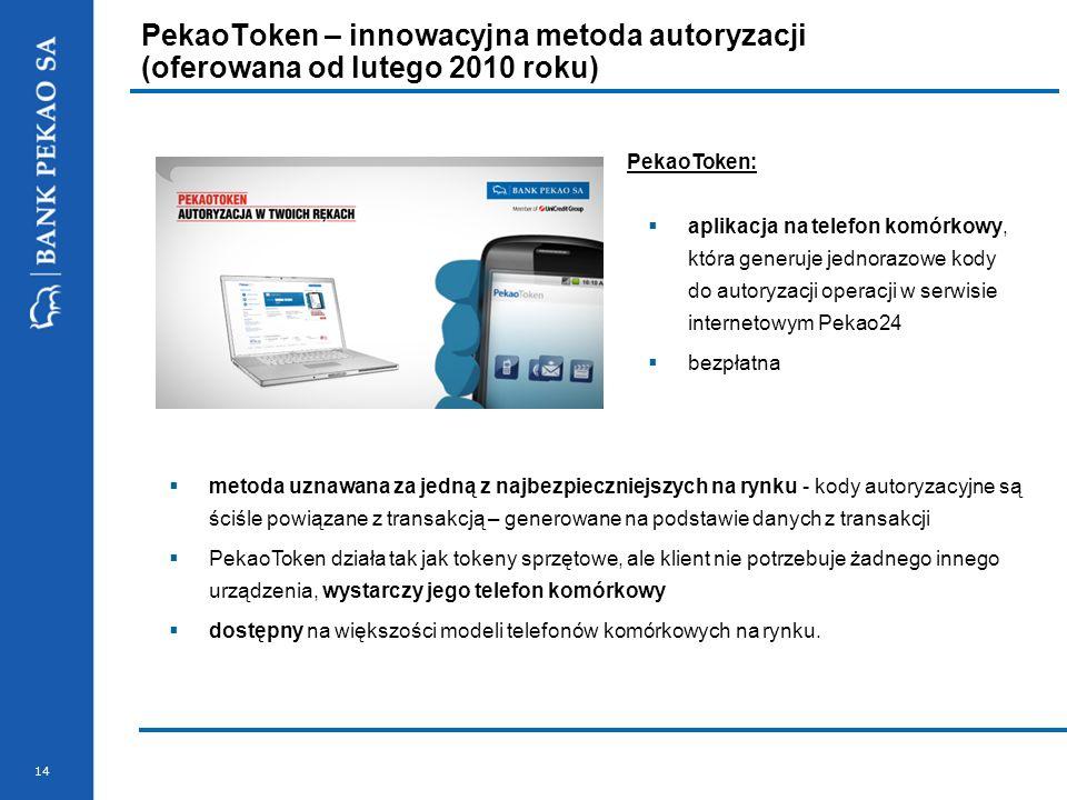14 PekaoToken – innowacyjna metoda autoryzacji (oferowana od lutego 2010 roku) PekaoToken: aplikacja na telefon komórkowy, która generuje jednorazowe