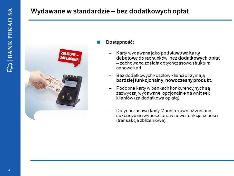 3 Dostępność: –Karty wydawane jako podstawowe karty debetowe do rachunków, bez dodatkowych opłat – zachowana została dotychczasowa struktura cenowa ka