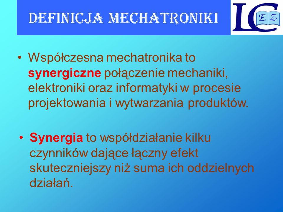 Definicja mechatroniki Synergia to współdziałanie kilku czynników dające łączny efekt skuteczniejszy niż suma ich oddzielnych działań. Współczesna mec