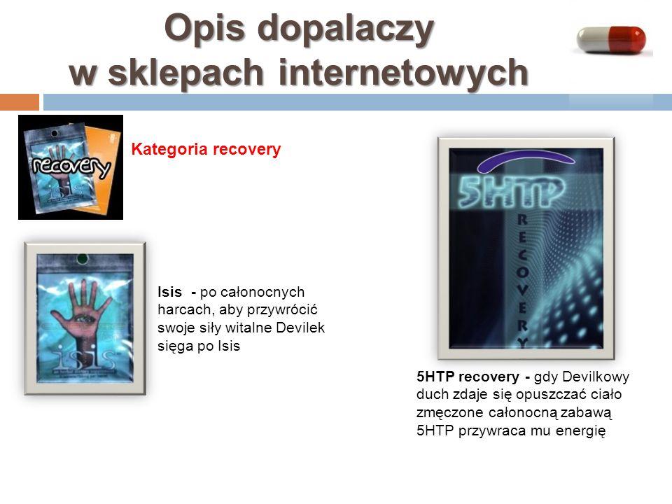 Opis dopalaczy w sklepach internetowych 5HTP recovery - gdy Devilkowy duch zdaje się opuszczać ciało zmęczone całonocną zabawą 5HTP przywraca mu energ