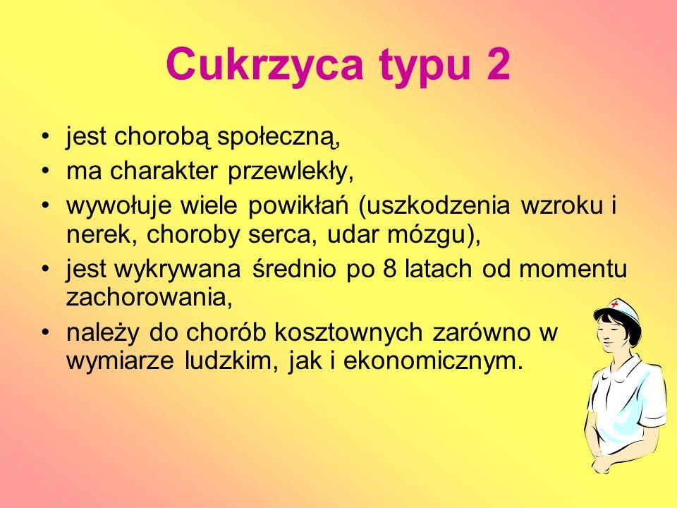 Cukrzyca typu 2 jest chorobą społeczną, ma charakter przewlekły, wywołuje wiele powikłań (uszkodzenia wzroku i nerek, choroby serca, udar mózgu), jest