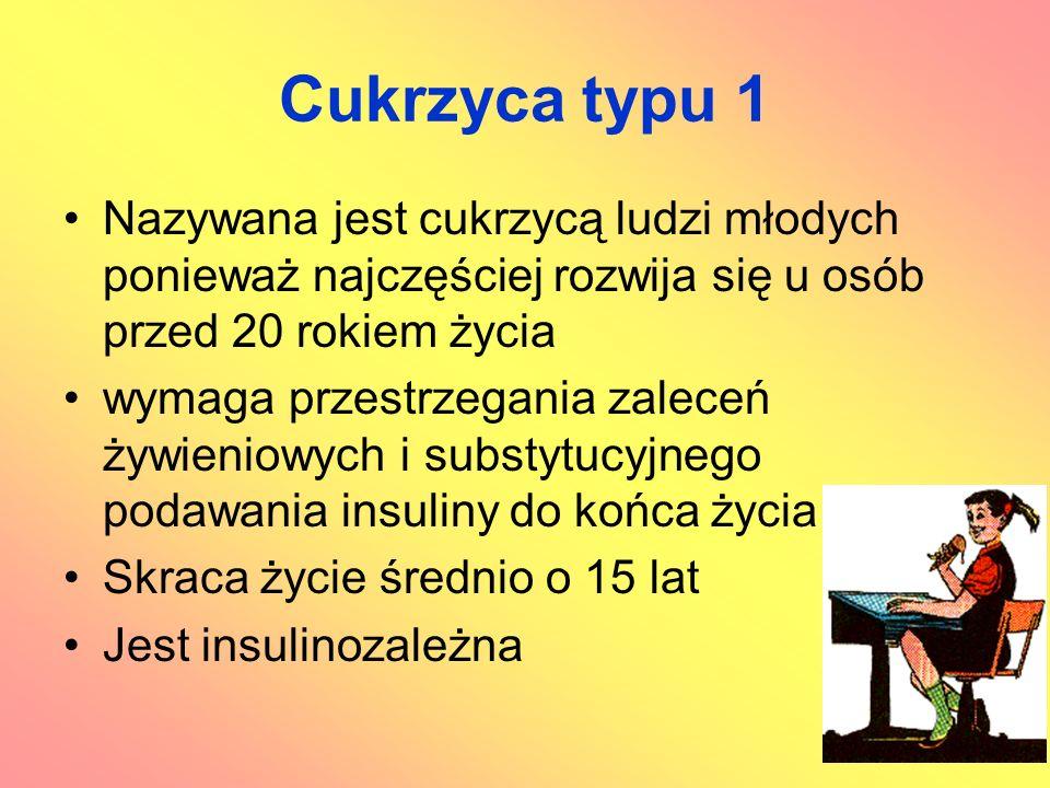 Cukrzyca typu 1 Nazywana jest cukrzycą ludzi młodych ponieważ najczęściej rozwija się u osób przed 20 rokiem życia wymaga przestrzegania zaleceń żywie