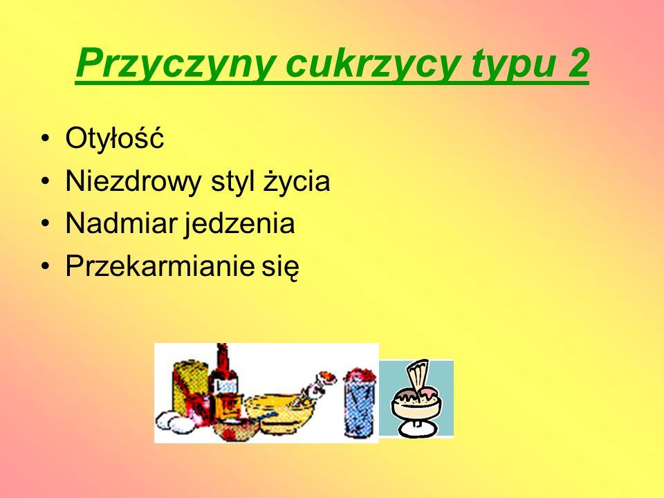 Leczenie cukrzycy typu 2 Prawidłowe odżywianie się Odpowiednio dobrany program ćwiczeń fizycznych Leczenie farmakologiczne Prowadzenie Dzienniczka Samokontroli Systematyczna kontrola lekarska