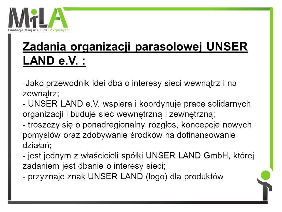 Zadania organizacji parasolowej UNSER LAND e.V.