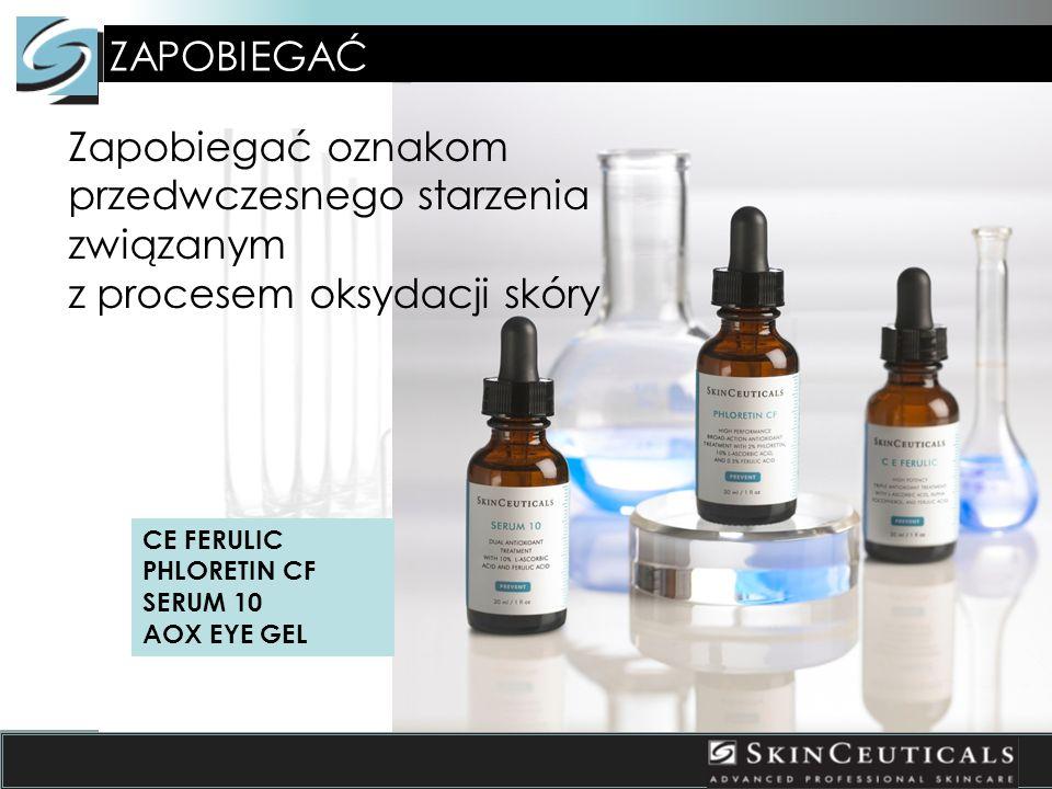 ZAPOBIEGAĆ Zapobiegać oznakom przedwczesnego starzenia związanym z procesem oksydacji skóry CE FERULIC PHLORETIN CF SERUM 10 AOX EYE GEL