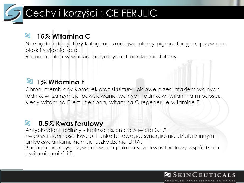 Cechy i korzyści : CE FERULIC 15% Witamina C Niezbędna do syntezy kolagenu, zmniejsza plamy pigmentacyjne, przywraca blask i rozjaśnia cerę. Rozpuszcz
