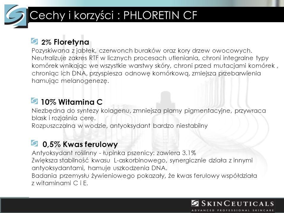 Cechy i korzyści : PHLORETIN CF 10% Witamina C Niezbędna do syntezy kolagenu, zmniejsza plamy pigmentacyjne, przywraca blask i rozjaśnia cerę. Rozpusz
