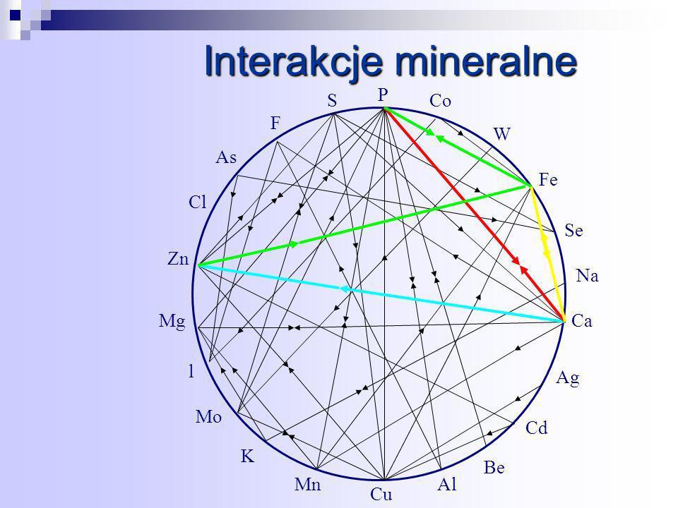 Interakcje mineralne P S F As Cl Zn Mg l Mo K Mn Cu Al Be Cd Ag Ca Na Se Fe W Co