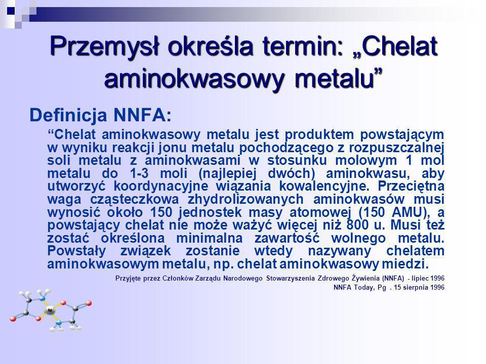 Przemysł określa termin: Chelat aminokwasowy metalu Definicja NNFA: Chelat aminokwasowy metalu jest produktem powstającym w wyniku reakcji jonu metalu pochodzącego z rozpuszczalnej soli metalu z aminokwasami w stosunku molowym 1 mol metalu do 1-3 moli (najlepiej dwóch) aminokwasu, aby utworzyć koordynacyjne wiązania kowalencyjne.