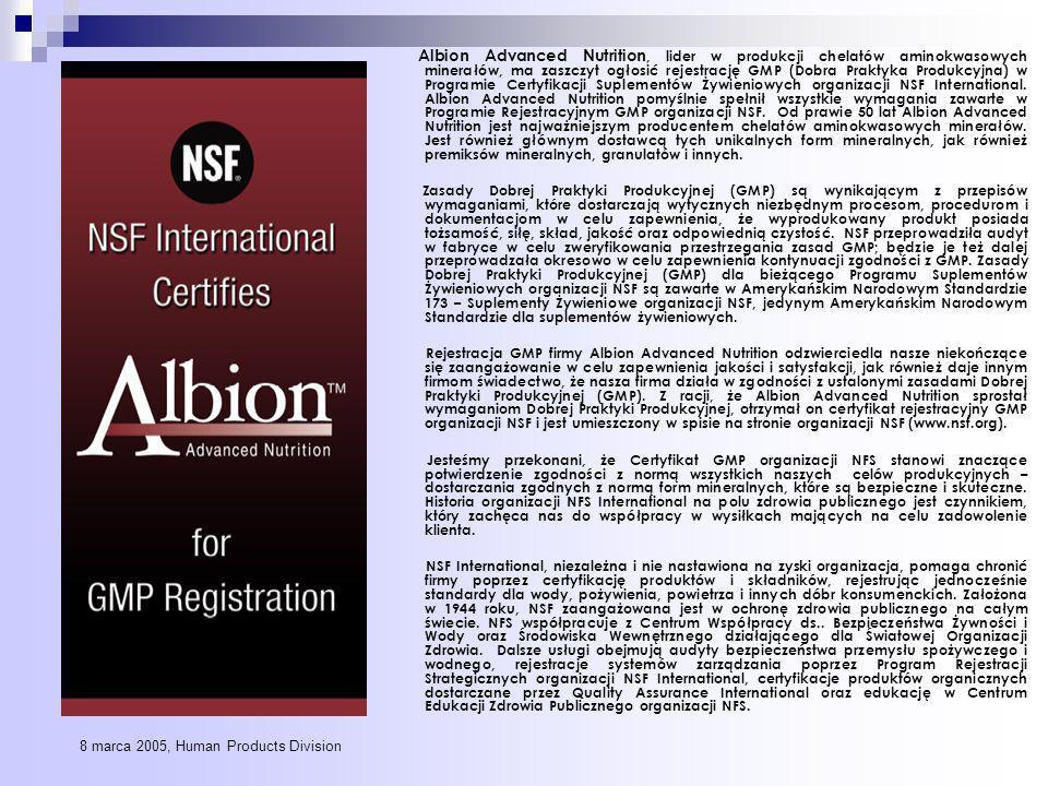 Albion Advanced Nutrition, lider w produkcji chelatów aminokwasowych minerałów, ma zaszczyt ogłosić rejestrację GMP (Dobra Praktyka Produkcyjna) w Programie Certyfikacji Suplementów Żywieniowych organizacji NSF International.