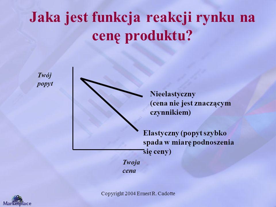 Copyright 2004 Ernest R. Cadotte Jaka jest funkcja reakcji rynku na cenę produktu? Twój popyt Twoja cena Elastyczny (popyt szybko spada w miarę podnos