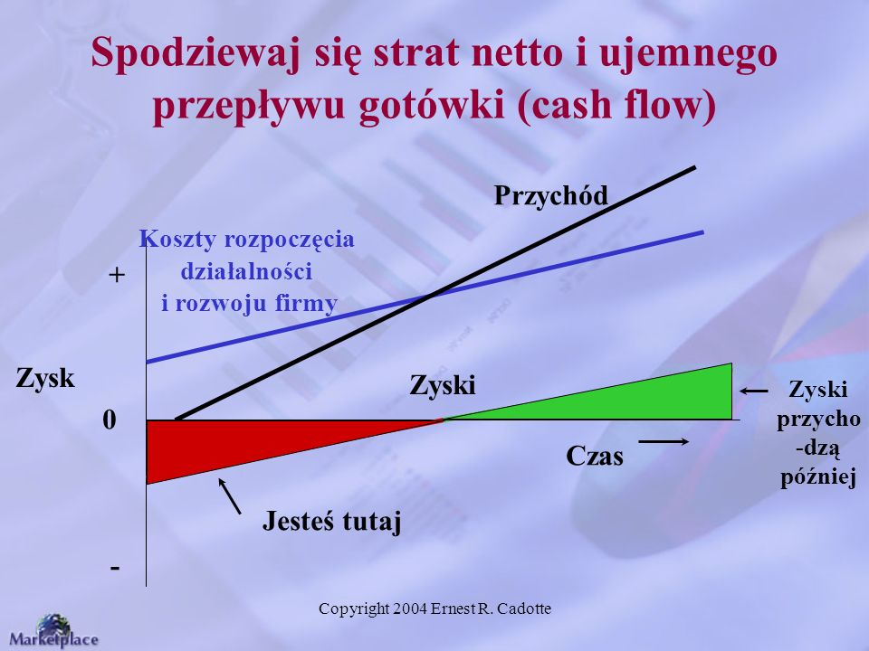 Copyright 2004 Ernest R. Cadotte Spodziewaj się strat netto i ujemnego przepływu gotówki (cash flow) Zyski przycho -dzą później Jesteś tutaj Zysk Zysk