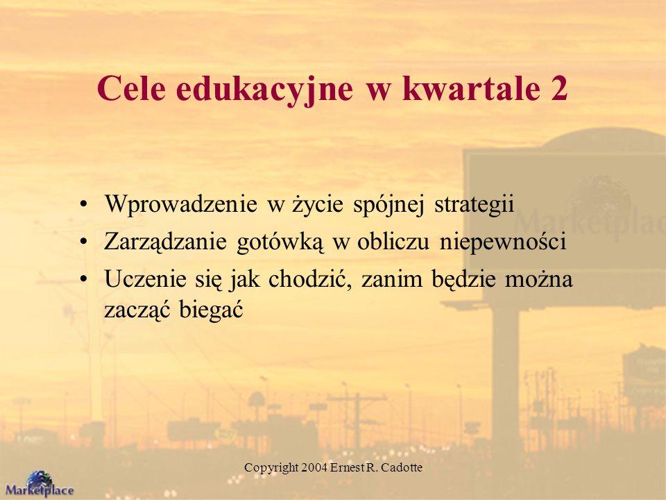 Copyright 2004 Ernest R. Cadotte Cele edukacyjne w kwartale 2 Wprowadzenie w życie spójnej strategii Zarządzanie gotówką w obliczu niepewności Uczenie