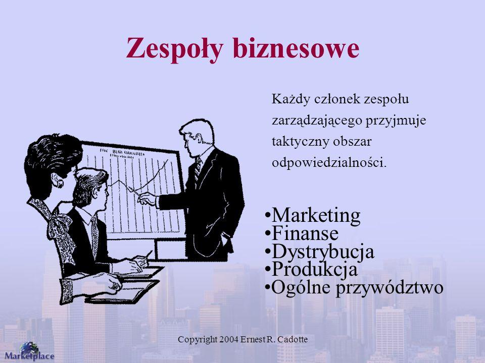 Copyright 2004 Ernest R. Cadotte Zespoły biznesowe Każdy członek zespołu zarządzającego przyjmuje taktyczny obszar odpowiedzialności. Marketing Finans