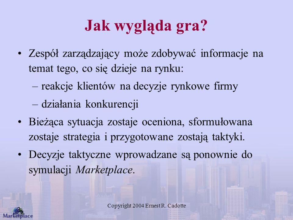 Copyright 2004 Ernest R. Cadotte Jak wygląda gra? Zespół zarządzający może zdobywać informacje na temat tego, co się dzieje na rynku: –reakcje klientó
