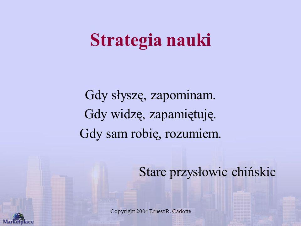 Copyright 2004 Ernest R. Cadotte Strategia nauki Gdy słyszę, zapominam. Gdy widzę, zapamiętuję. Gdy sam robię, rozumiem. Stare przysłowie chińskie