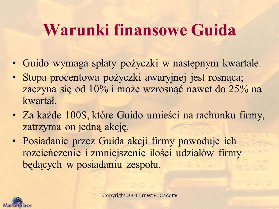 Copyright 2004 Ernest R. Cadotte Warunki finansowe Guida Guido wymaga spłaty pożyczki w następnym kwartale. Stopa procentowa pożyczki awaryjnej jest r