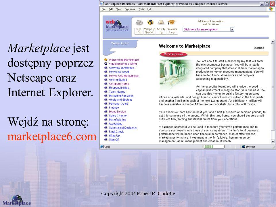 Copyright 2004 Ernest R. Cadotte Marketplace jest dostępny poprzez Netscape oraz Internet Explorer. Wejdź na stronę: marketplace6.com