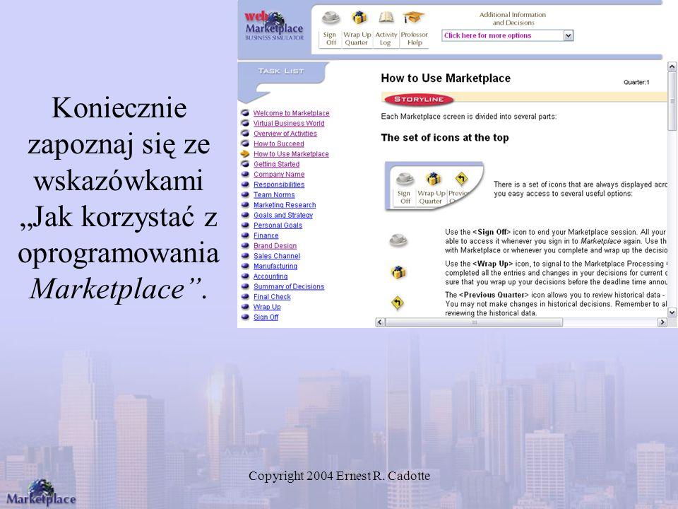 Copyright 2004 Ernest R. Cadotte Koniecznie zapoznaj się ze wskazówkami Jak korzystać z oprogramowania Marketplace.