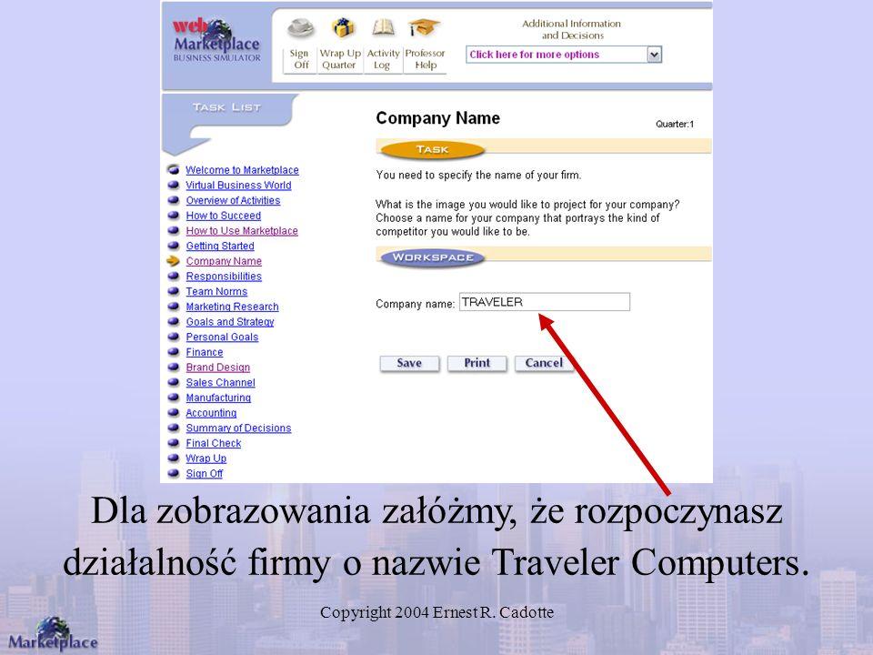 Copyright 2004 Ernest R. Cadotte Dla zobrazowania załóżmy, że rozpoczynasz działalność firmy o nazwie Traveler Computers.