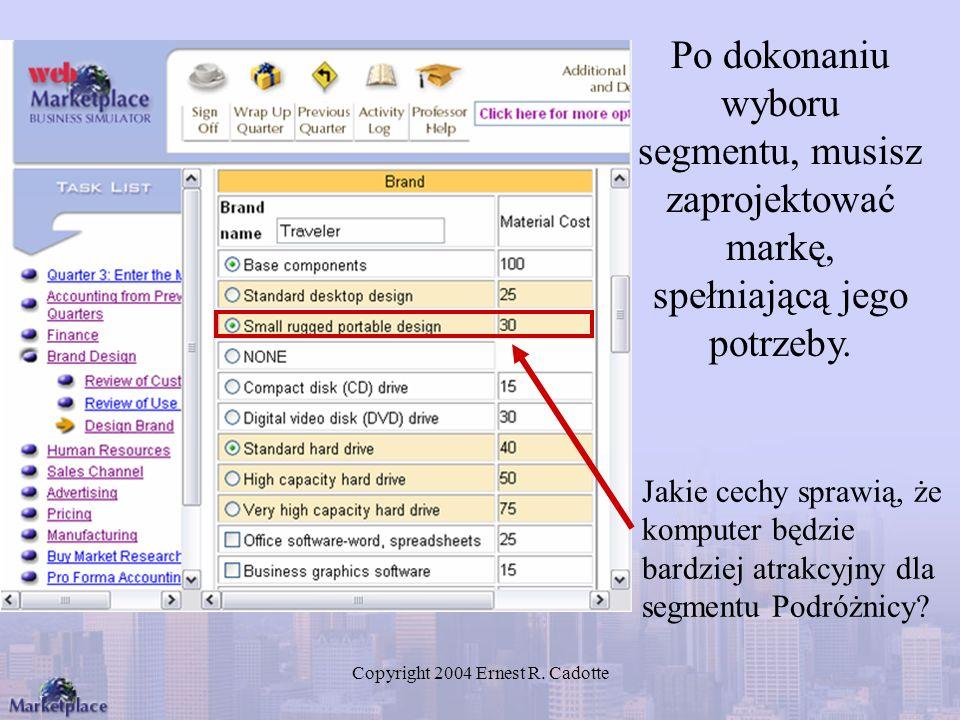 Copyright 2004 Ernest R. Cadotte Po dokonaniu wyboru segmentu, musisz zaprojektować markę, spełniającą jego potrzeby. Jakie cechy sprawią, że komputer