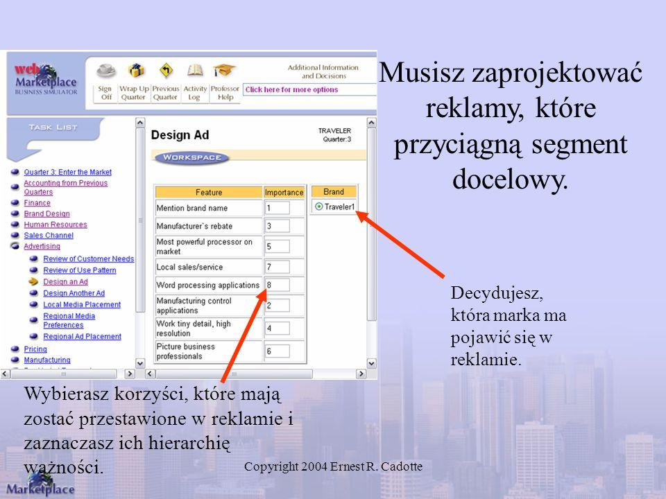 Copyright 2004 Ernest R. Cadotte Musisz zaprojektować reklamy, które przyciągną segment docelowy. Wybierasz korzyści, które mają zostać przestawione w