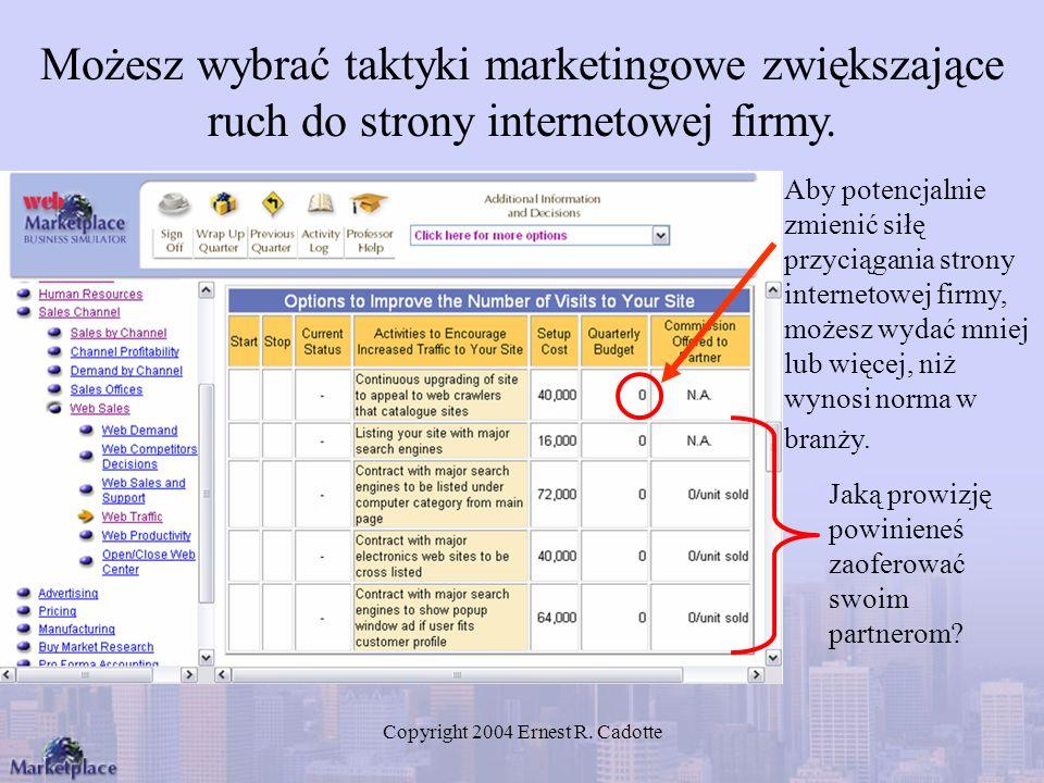 Copyright 2004 Ernest R. Cadotte Możesz wybrać taktyki marketingowe zwiększające ruch do strony internetowej firmy. Aby potencjalnie zmienić siłę przy