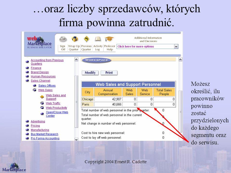 Copyright 2004 Ernest R. Cadotte Możesz określić, ilu pracowników powinno zostać przydzielonych do każdego segmentu oraz do serwisu. …oraz liczby sprz